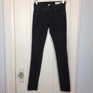 Rag & Bone Distressed Black Skinny Jeans